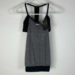 Nike Womens Tankini Swimsuit Black Gray Stripe New